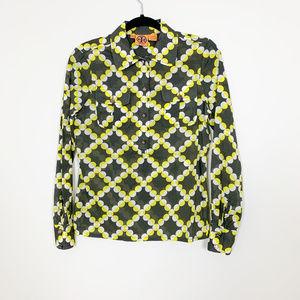 TORY BURCH Yellow/Black 3/4 Button Top Size 2